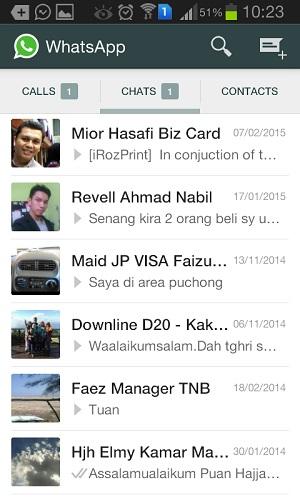 whatsapp call list