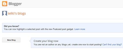 bina blog dengan blogger