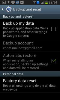 menu backup and restore