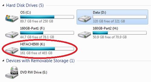saiz hard disk