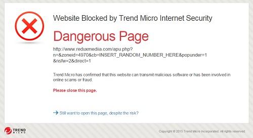 trend micro blok website