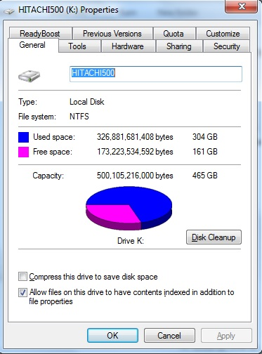 windows explorer disk usage