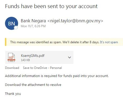 bnm phishing terima fund luar negara