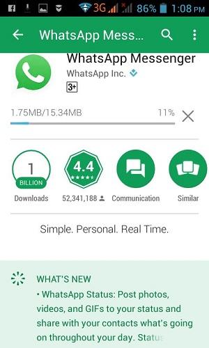 whatsapp versi baru
