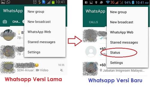 whatsapp versi lama dan baru - status