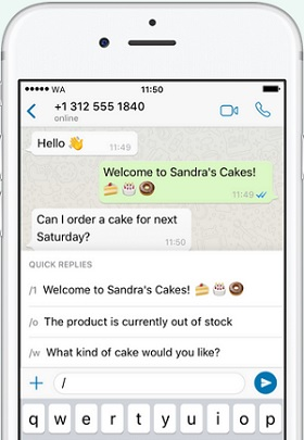 whatsapp business quick replies
