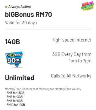 Plan Digi Prepaid Terbaik biGBonus RM70