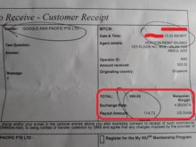 western union receipt
